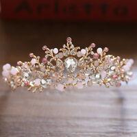 Fashion Wedding Baroque Crystal Crown Tiaras Bridal Hair Jewelry Headband Flower
