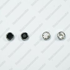 Round Circle Framed Crystal Magnetic Stud Earrings - Mens Womens Fashion Magnet