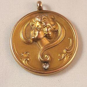 Antique Art Nouveau 14k Yellow Gold Lady's Face Diamond Pendant
