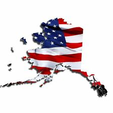 Bright Waving USA American Flag Alaska State patriotic Vinyl Decal Sticker