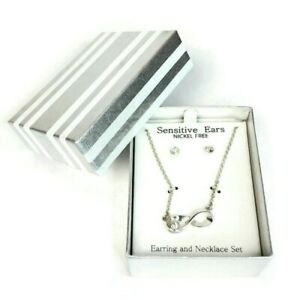Earing and Necklace Set Sensitive Ears Nickel Free In Gift Box, Valentine Gift