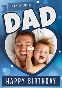 Personalised Photo Dad Heart Birthday Card, ADD A PHOTO, Personalized Dad