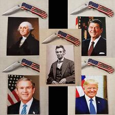 """Patriotic Presidential God Bless America Flag 4"""" Knife & Photo Gift Set"""