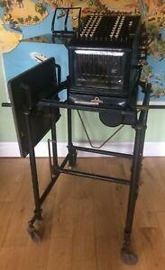 Antique book keeping / adding machine, Burroughs, c. 1919, with original stand