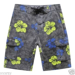 Men Board Shorts Swim Beach wear Trunk Stone wash Heavy Fabric Blue Stripes