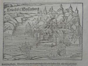 Griechisch Weißenburg Belgrad Stadtansicht Cosmographia Münster Holzschnitt 1580