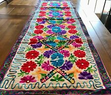 Embroidered Flower Tapestry Wall Hanging Table Bed Runner Woollen India RN107