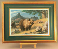 """Rare Paul Krapf  Matted Framed S/N 25x15 signed print 505/850 """"Grizzly Country"""""""