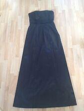 Stunning Ladies New Look Black Satin Full Length Bandeau Dress -Size 10 Free P&P