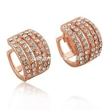 5 Row  Crystal 18K Rose Gold GP Fashion Hoop Earring 753