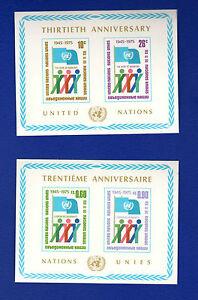 SCOTT # 262 NY, # 52 Geneva, 30th Anniv. United Nations MNH - 2 Souvenir Sheets