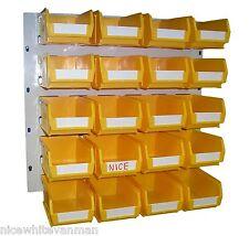 PLASTIC STORAGE BINS BOX SET BINS AND PANEL YELLOW  BK52