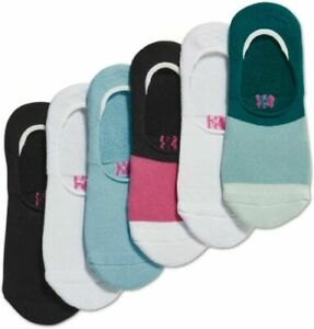 """Socks Women's Hue Sneaker Liner Cushioned Blue Striped One Size  """"6 Pack"""""""