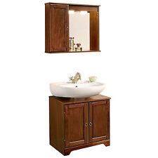 Copri colonna sotto lavabo con specchio versione SX in arte povera color noce