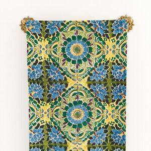 Pottery Barn Table Runner Floral Print Blue Green Yellow White 18 x 108 Cotton
