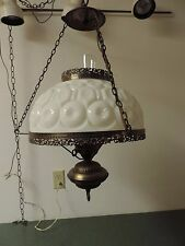 Vtg  GWTW Hurricane  Brass Ceiling Swag Light White Glass Shade Filegree Trim