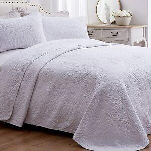 SEMECH Quilt King Size Bedspread Lightweight, Grey King Quilt Bedding Set Cotton