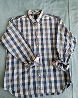 Taylorbyrd Men's Dress Shirt Button Down Size 2XL Blue Grey Check 100% Cotton