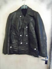 VINTAGE POST WW2 GERMAN LEATHER POLICE OFFICERS JACKET SIZE M PEA COAT