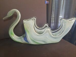 1 Vintage Mid Century Art Glass Swans, Sooner Glass Figurines Teal, Blue & Green