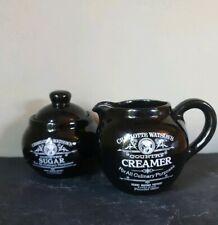 Henry Watson Pottery Black Ceramic Country Creamer Jug & Covered Sugar Bowl Set
