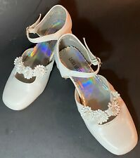 Laura Ashley Strap Buckle Shoes Flower Girl Pageant Communion White Girls Sz 3
