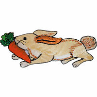 Embroidered Hare Rabbit Iron On Badge Sew On Patch Clothes Embroidery Applique
