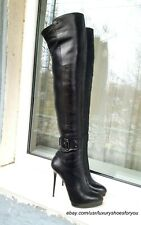 GIANMARCO LORENZI Black Leather Overknee Boots gr. EUR 38
