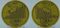 2017 Bear/Bull 1oz Physical Bitcoin BTC Copper Brass Gold Coin Token Round Chip
