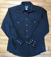 VTG Wrangler Long Sleeve Black On Black Pearl Snap Western Black Shirt Small