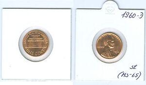 USA 1 Cent Lincoln 1960 D Petit Date Pièce de Monnaie (MS-65)