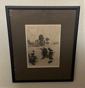 Original FRANK BENSON Signed Sporting Art Drypoint Etching - Ducks in Rain, 1918
