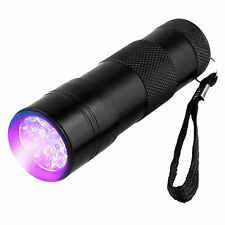 UV Ultra Violet 12 LED Flashlight Blacklight Light 395  Inspection Lamp Torch
