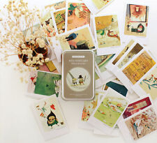 Illust Mini Post Cards Set of 40 Greeting Cards + Tin Case - Willows & Garden
