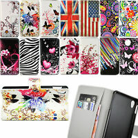 Stand Flip Book Holder PU Leather ID Card Wallet Pouch Cover Case For Sony Phone