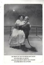 DC98. Vintage Greetings Postcard.Romantic Couple onboard a ship