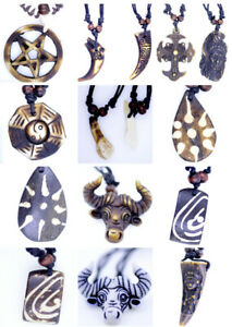 Simulated bone necklace, different patterns, cross, native American, wolf tooth