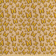 Arancione e Giallo Tessuto al metro raso Farfalle