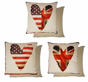 "3X FILLED HEART UNION JACK STARS STRIPES USA FLAG CUSHION 17""-43CM"