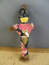 "Voodoo Doll Figurine New Orleans Louisiana Folk Art Skull Face Magnet 6"" Tall"