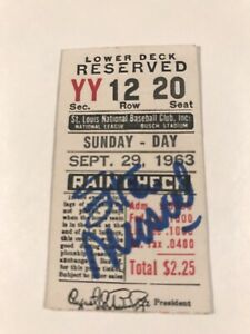 1963 Stan Musial Signed Ticket Last GM/Hit/RBI St. Louis CARDINALS COA Sept. 29