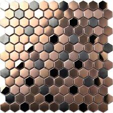 New Hexagon Stainless Steel Brushed Mosaic Tile Bronze Black Shower Floor Tiles