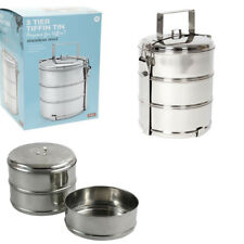 3 Tier Stainless Steel Tiffin Tin Food Container  Lunch Box Trips Travel Summer