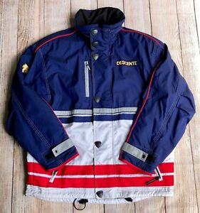 VTG Men's Descente Red White Blue Color Block Snowboard Ski Jacket Medium