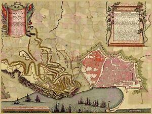 Maps Antique Vintage Barcelona Spain Farmland Surrounds Canvas Art Print