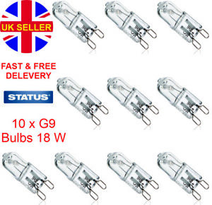 10x G9 Halogen Bulbs Capsule Dimmable 240v 18w long life oven cooker wax lamps