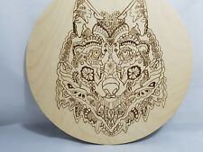 Wild Wolf face handmade pyrographics picture on birchwood gift  birthday