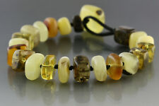 Genuine BALTIC AMBER Square Beads UNISEX Knotted Bracelet 16.3g 181128-4
