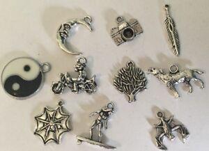 Joblot Of 10 High Quality Charm Beads/ Pendants/ Hippy / Biker / Goth