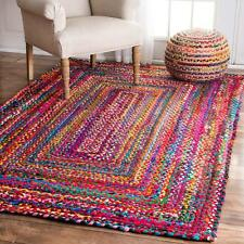 "9x12""Feet Rectangle Braided Rug Handmade Reversible Multi Color Floor Decor  Mat"